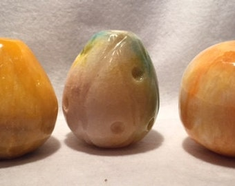 3 vintage alabaster fruits