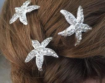 Starfish Hair Pins, Bridal Hair Pins, Wedding Starfish, Silver Starfish, Rhinestone Starfish Bobby Pins