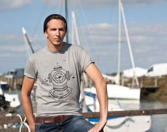 Men t-shirt screenprinted, nautical tshirt, spacesuit, plunger, funny, sailor, sailing, christmas gift, husband gift, chiné grey, sea