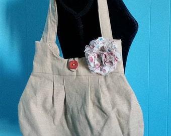 Beige/Pink/White Pleated Handbag