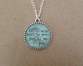 Sigh No More  - Mumford & Sons Quote Lyrics Necklace -  Handmade Unique