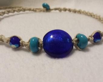 Blue Glass Bead Hemp Necklace  - Handmade Hemp Jewelry