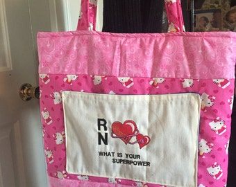 Nurse/Medical Tote Bag Handmade Hello Kitty Print