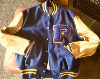Vintage Leather & Wool Lettermans Jacket Gold and Navy