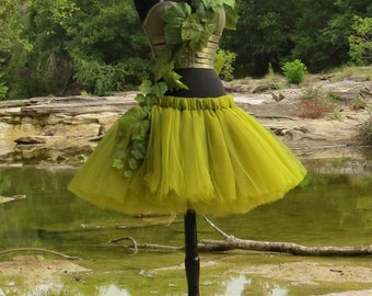 Adult Poison Ivy Costume Tutu -  Beautiful olive green tulle skirt for your Adult Costume, Halloween. Cosplay, or villain fantasy.