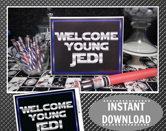 Star Wars Birthday Printable | Silver & Blue | 8X10 Party Sign | Welcome Young Jedi | Star Wars Decorations | Party | Epic Parties by REVO