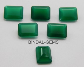 5 Pieces Wholesale Lot Green Onyx Octagon Faceted Cut Gemstone