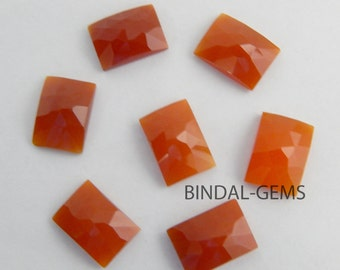 Wholesale Lot 5 Pcs Red Onyx Octagon Shape Rose Cut Gemstone For Jewelry