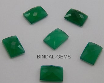 5 Pieces Wholesale Lot Green Onyx Octagon Shape Checker Cut Gemstone for Jewelry