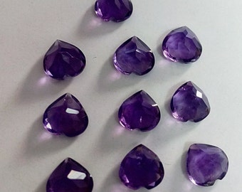 Wholesale Lot 25 Pcs. Natural African Amethyst Heart Faceted Cut Gemstone