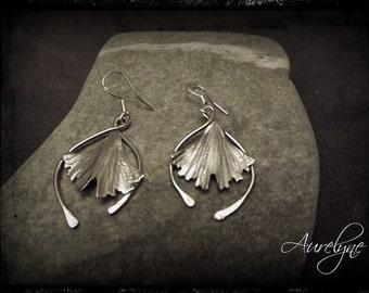 "Earrings Tale ""The Dryad"" ginkgo biloba leaves and interlacing ties silver 925"