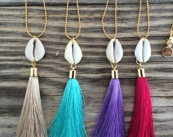 OOAK 24k gold plated ballchain necklace with cowrieshell and silk tassel