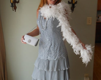 1990s Upcycled Reproduction Gray and Silver Beaded Dress for Flapper Gatsby Costume Medium Large #5