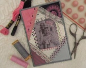 Crazy quilted fabric postcard with knitting girl, handembroidered, great present for a quiltfriend
