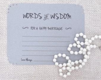Words of Wisdom Advice Cards in Grey -Weddings, Showers, Anniversaries-Set of 10