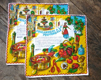Two French serviettes with recipe, souvenirs of Provence.