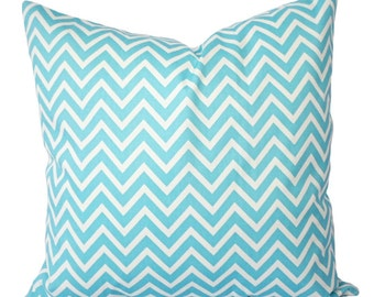 Two Chevron Pillow Covers - Teal Chevron Decorative Pillow Cover Teal and White - Aqua Throw Pillow - Turquoise Pillow Cover - Accent Pillow