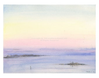 Where the water meets the sky - Watercolor seascape - Sunset print