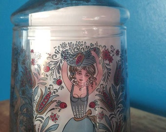 Vintage painted glass container.