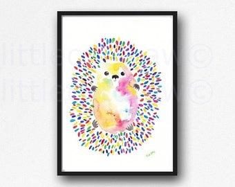 Hedgehog Print Watercolor Painting Hedgehog Wall Art Animal Bedroom Wall Art Home Decor Hedgehog Art Unframed