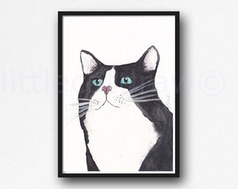 Portrait of a Tuxedo Cat Print Black and White Cat Watercolor Painting Art Print Watercolor Print Watercolour Wall Art