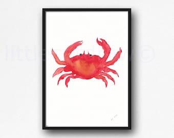 Red Crab Watercolor Painting Print Nautical Sea Decor Watercolour Crab Wall Art Watercolor Art Print