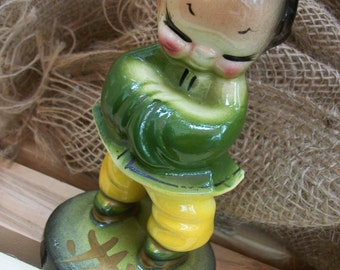 Vintage Asian Themed Ceramic Planter.