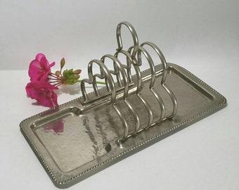 Vintage metal toast rack, dimpled silver toast rack.