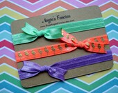 6 Months - Toddler Elastic Bow Headband Set in Summer Brights, Coral, Mint, Purple Baby Headwrap, Neon Flamingo Headband Gift Set For Babies
