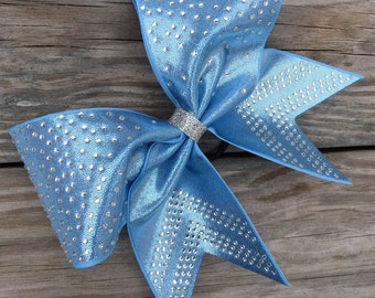 Columbia blue mystique bow with rhinestones. Available in any color.