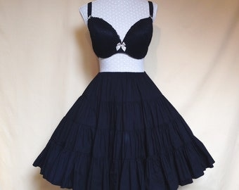 Black Cotton Goth Lolita Four Tier Ruffled Petticoat Skirt