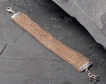 SALE, Rose Gold Bracelet, Cuff Bracelet, Bridal Jewelry, Boho Cuff Bracelet, Wedding jewelry, Bridesmaid gift, 0009-S21