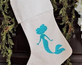 Personalized Christmas Holiday Stocking- Coastal Jute Mermaid