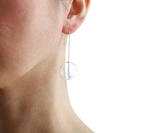 LARGE BUBBLES EARRINGS   hand blown glass, long earrings, beads earrings, glass earrings, clear, gold earrings, minimalist, modern jewelry  