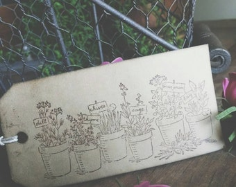"Garden Thyme Gift Tags, herb garden, garden theme- sized 4 3/4"" x 2 3/8"", set of 12"