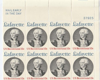 1977 Lafayette US Postage Stamps Block of 8