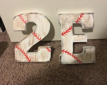 Baseball wood letters birthday, bedroom, or house decorations
