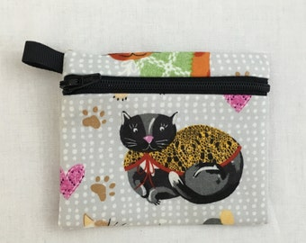 Cats in Coats Zipper Coin Purse, Credit Card, Earbud, IPod Pouch