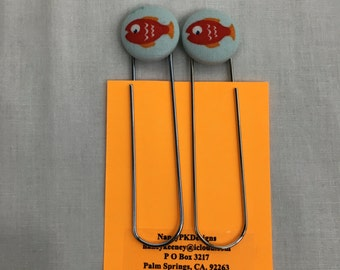 Goldfish Covered Button Giant Paperclip, Bookmark, Organizer
