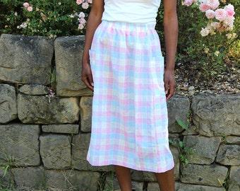 Lilac Pink & Blue Plaid Midi Skirt