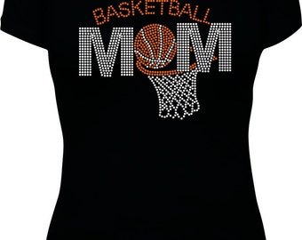 Rhinestone Basketball Mom with hoop shirt
