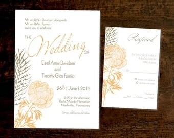 Autumn Folliage wedding invitation and RSVP