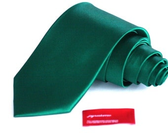 Skinny or Regular SILK EMERALD GREEN Solid Tie