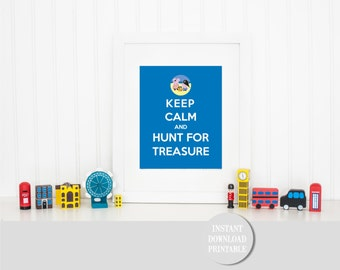 "KEEP CALM PEPPA Pig Treasure Hunt Printable 8x10"" Children Home Decor Wall Art Print Home Puddles George Pirate Party Instant Download"
