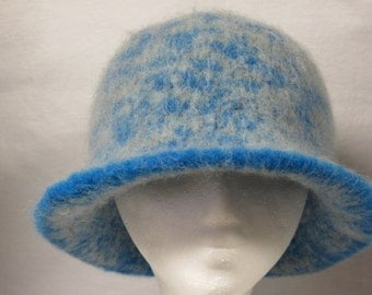 Hat Wool Felted Blue Grey Mix with Flared Brim