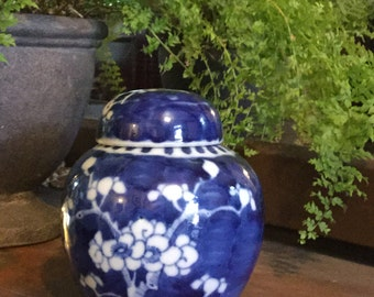 Petite Chinoiserie Blue and White Ginger Jar