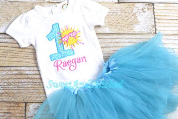 Girls Sunshine birthday Outfit - Summer sun Birthday Shirt, fun in the sun birthday - Girl's 1st 2nd birthday, bloomer, tutu, or pettiskirt