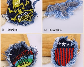 5 pcs Denim embroidery patch sew-on Applique, garment DIY accessory #2398