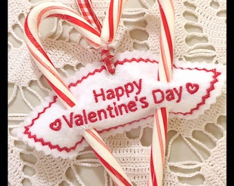 Happy Valentine's Day Sweetheart Candy Cane Holder Holder Machine Embroidery Design - Machine Embroidery Instant Download Design