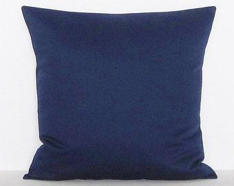 Navy Blue Pillow Cover Decorative Throw Accent Toss Pillow Couch Solid 16x16 18x18 20x20 22x22 12x14 12x16 12x18 12x20 14x22 Lumbar Zipper